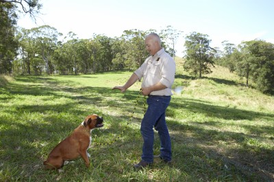 Scott Donald demonstrating his dog training method using a leash in the park